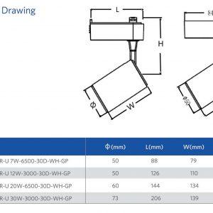 """LED  SPOT  7W  LUZ BLANCA  C/ NEGRO  """"SP – TR-U 7W-GP """"140060537"""""""